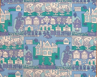 Groovy Kitsch Vintage 70s Cotton Fabric Remnant - Cute Houses and Trees
