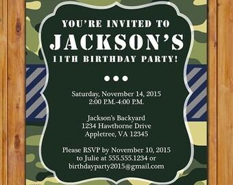 Green Camo Birthday Invitation Boys Personalized Camouflage Printable 5x7 Digital JPG File (PI-61)