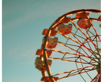 Fair Photograph - Ferris Wheel Photograph - Fine Art Photography - Summer - Fair - Lights - Original Art - One Last Ride - Oversized Art