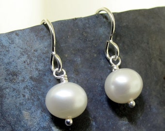 Pearl Earrings, white pearls and sterling silver, by Kathryn Riechert