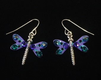 Dragonfly Earrings Sparkling Purple and Teal