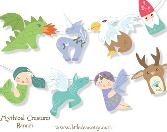 Printable Mythical Creatures Banner PDF Scrapbooking Party Decorations