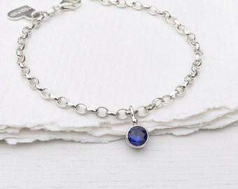 Sapphire Charm Bracelet, September Birthstone, Sterling Silver, Handmade in the UK