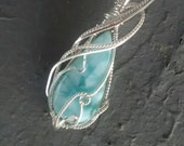 On hold for Rose Larimar Pendant Sterling Wire Wrapped OOAK Artisan Pendant