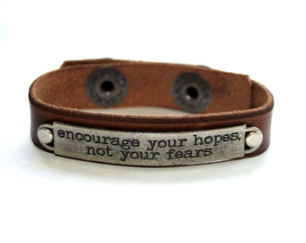 """1/2"""" Wide Brown Leather Bracelet Wristband Cuff Inspiration with Words"""