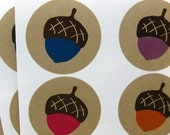 Acorn Kraft Stickers (1.67 inch, 24 labels, 6 color)