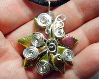 Sterling Silver Swirl Wire Wrap Tac Fused Pink / Yellow Dichroic Glass Pendant with Necklace
