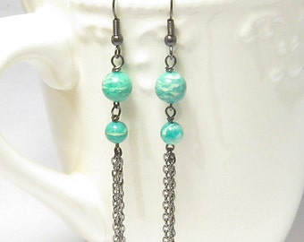 Amazonite and Gunmetal Chain Earrings, Blue-Green, Wire Wrapped, Black Chains, Gemstones, Stones