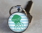 Jelly on Stripes -  Pendant Necklace or Key Chain - Choice of 4 Colors