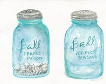 Watercolor painting, Salt & Pepper Aqua Blue Canning Jars, Original ART  5 x 7 kitchen art, painting mason jar salt and pepper shaker