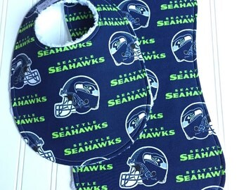 Seattle Seahawks Baby Bib & Burp Cloth Set, Gender Neutral, Seahawks Baby Shower, Chenille Triple Layer Design, NFL SEATTLE SEAHAWKS