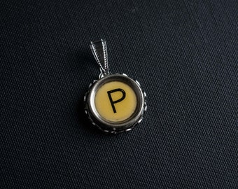 Initial TYPEWRITER Key PENDANT Letter P Black or Light Jewelry Vintage Unique Gift