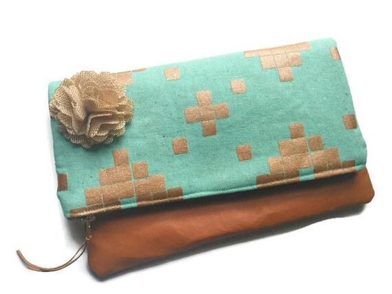 Metallic Clutch, Copper Clutch, Leather Foldover Clutch Bag, Light Brown Leather Clutch Bag, Leather Clutch Pouch, Clutch Purse, Evening Bag