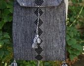 Vintage Woven Black + White Fabric Bag Purse Shoulder Bag Women Accessories Bags and Purses Retro Handbag Crossbody Hippie Bohemian Boho