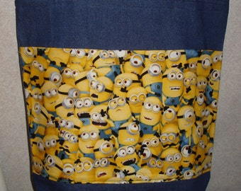 New Large Denim Tote Bag Handmade with Minions Fabric
