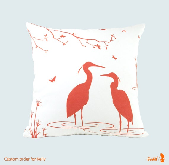 Custom order for Kelly Two Egret Lovers in the Swamp 18 Inches Square Pillow Covers