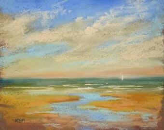 FRANCE Normandy Seascape Beach ART Original Pastel Painting plein air