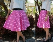 Pink Black or Red and White Polka Dot Circle Skirt Custom Made Any Size Womens skirt Cotton Full Skirt
