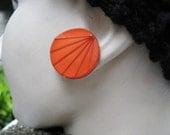 "1980s 1"" Button Post Earrings, Vintage Geometric Earrings, Large Post Earrings, New Wave Earrings,"