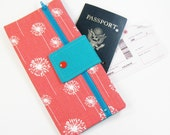 Travel Wallet Passport Cover Travel Organizer with Zipper Pouch - Coral Dandi