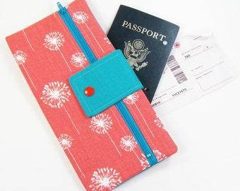 Travel Wallet / Travel Passport Holder / Passport Wallet / Passport Case / Passport Cover - Coral Dandi