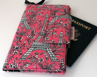 Travel wallet , Passport holder, Paris Travel wallet, Smart phone Wallet Pink and Black Paris Eiffel Tower Black Chevron