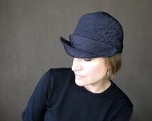 Violet neoprene hat, purple cloche, warm winter cap, brimmed cloche, handmade hat, soft fabric hat, ladies millinery, sewn hat : Acappella