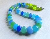 Aqua Blue Green Lime Quartz Necklace, Ocean Beach Sea Colors Gemstone Necklace, Resort Summer Vacation, Faceted Round Bead Gemstone Necklace