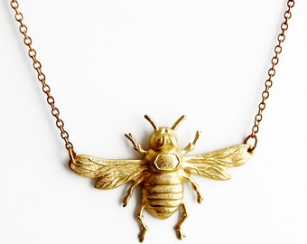 Vintage Brass Bee Necklace