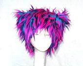 Pink Tropics Kozy Kitty faux fur hat fuzzy raver hat Pink Purple Turquoise blue EDM woman men Mardi Gras neon Festival hat black light