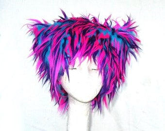 Pink Tropics Kozy Kitty faux fur hat fuzzy raver hat Pink Purple Turquoise blue EDM woman men Mardi Gras neon Festival hat black light