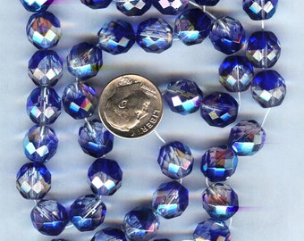 Czech Fire Polished Faceted 2-tone Glass Round Beads Crystal-Dark Blue 10mm 12pcs