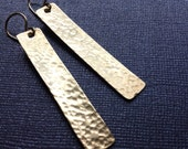 Gold Rectangle Earrings - Hammered Brass