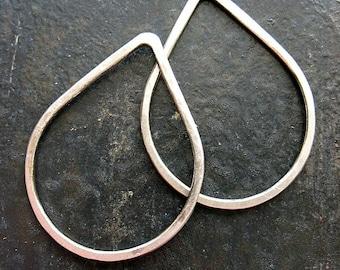 Antiqued Sterling Silver Teardrop Links - 1 pair - 30mm in length