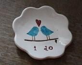 Ring Bearer Bowl The Original Love Bird with I do Love Bird Design by Chrissy Ann Ceramics