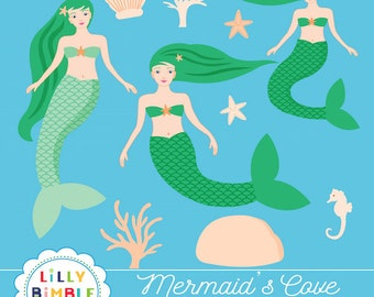40% off Mermaid Clipart, Mermaids Cove art nouveau women character ocean, birthday party, coral, shells, Instant Download commercial use