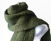 Hand Knit Green Avocado Classic Scarf Rib Knit Scarf Fatigue Green Men Women Unisex BLAKE Ready to Ship - Autumn, Winter Fashion