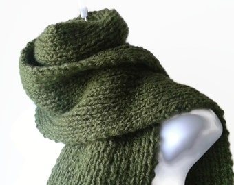 Hand Knit Green Avocado Classic Scarf Rib Knit Scarf Fatigue Green Men Women Unisex BLAKE Ready to Ship - Autumn, Winter Fashion