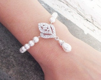 Art Deco Bridal Bracelet, Wedding Bracelet, Great Gatsy Inspired Bracelet, Wedding Jewelry, IVANA