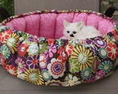 Round Cat Bed, Fabric Cat Bed, Pink Cat Bed, Pocket Cat Bed, Indoor Cat Bed, Handmade Cat Bed, Stuffed Cat Bed, Small Dog Bed, Basket Bed