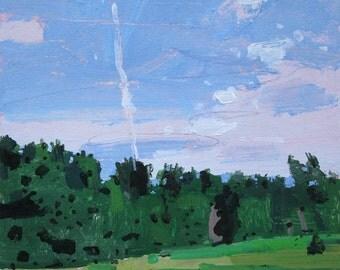 Straight Up, Original July Landscape Painting on Paper, Stooshinoff