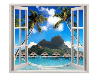 """Home on the Water Windowscape  - 26"""" wide x 23"""" tall Windowscape - Vinyl Wall Decal"""