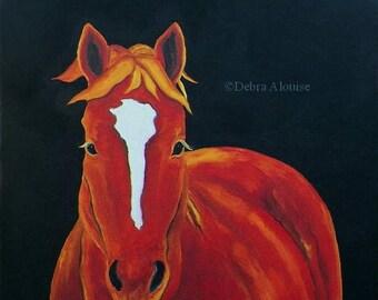 Midnight Horse Original Oil Painting by debra alouise Equine Horses Art Pet Animals