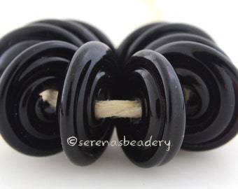 Lampwork Glass DISC Beads BLACK Glossy or Matte Spiral Wavy Disks - TANERES