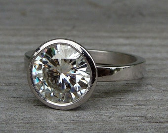 Moissanite Engagement Ring - Huge (2.5 carat) Forever One G-H-I Moissanite & Recycled 950 Palladium w/ Hybrid Peekaboo Bezel - Made To Order