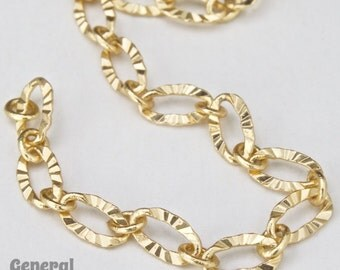 3mm x 4.8mm Matte Gold Textured Oval Chain #CCG097