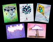Sky Themed Postcard Pack - Featuring 5 paintings by Marcia Furman