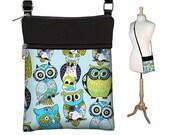 Small Crossbody Bag  Owl Hipster Cross body Purse, Sling Shoulder Bag with Long Srap,  green blue black RTS