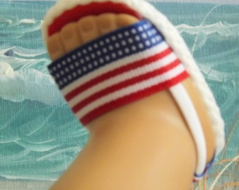 """Sandals for 18"""" dolls and 13-14"""" dolls and 14.5"""" dolls (You choose size) Red White and Blue American Flag Theme"""