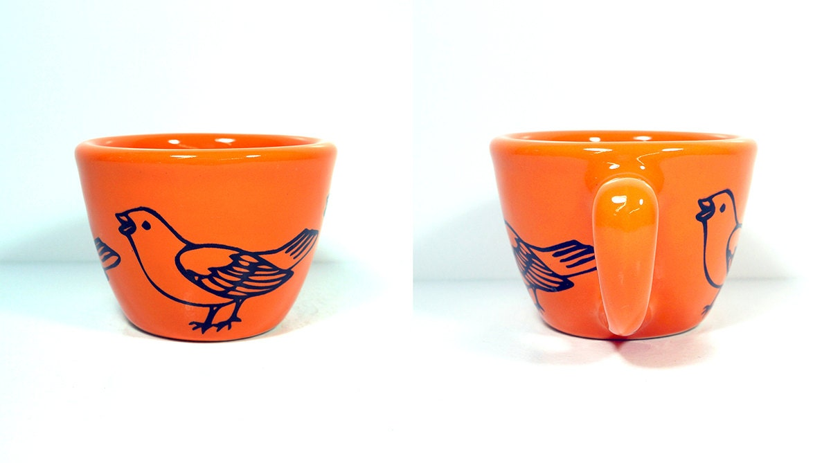 12oz cup sparrow, shown here in the Creamsicle glaze.  Made to Order/ Pick Your Colour